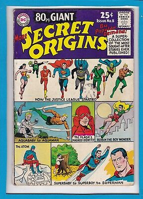 80 Pg GIANT_SECRET ORIGINS #8_MARCH 1965_FINE MINUS_ATOM_FLASH_AQUAMAN_SUPERMAN!