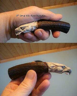 Carved Shed Antler-Eagle Head-Flint Knapping-Non Native-Face Carving-Cane Handle