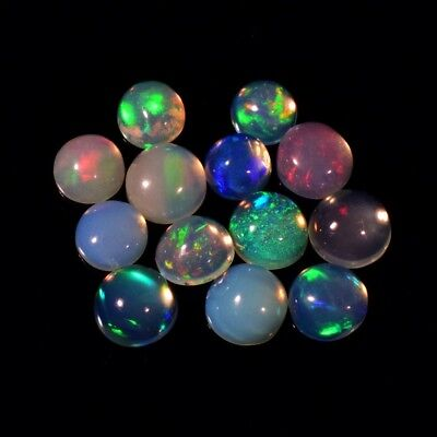 13pcs Lot 2.12ct Round Cabochon Natural Play-of-Color Crystal Opal