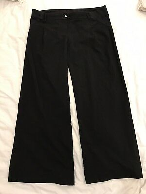 M&S LIMITED COLLECTION Maternity Trousers Size 14 Long Black Wide Leg