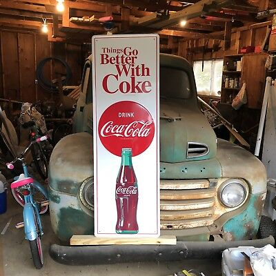 """NICE """"COCA COLA"""" METAL EMBOSSED ADVERTISING SIGN, 54""""x 18"""" EXCELLENT CONDITION"""