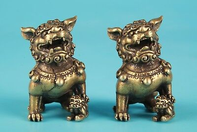 2 Unique Chinese Bronze Statue Solid Kylin Old Mascot Collection Gift