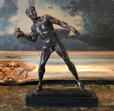 Athletic Classic Nude Male Figure Vintage Shotput Bronze Marble Statue Sculpture