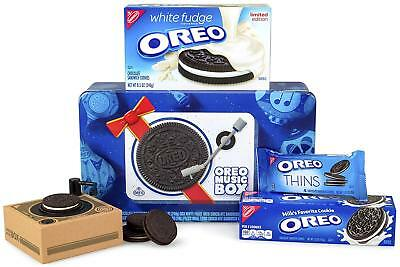Oreo Music Box Cookie Record Player Collectible Holiday Gift Tin White Fudge