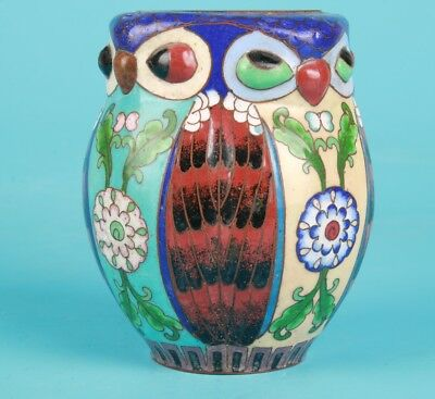 Antique Chinese Cloisonne Enamel Jar Old Handmade Home Decor Gift Collection