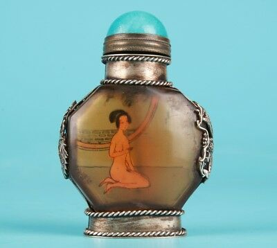 Vintage Chinese Tibet Silver Glass Snuff Bottle Hand-Painted Beauty Collection