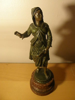 Antique Spelter figurine woman sowing, wood base, bronze? Art nouveau