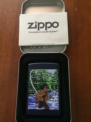 NIB 1998 CAMEL JOE FLY FISHING ZIPPO in tin w/ matching Camel Cigarette Sleeve