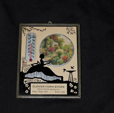 1942 Clover Farm Advertising Calendar Reverse Painting Silhouette Thermometer