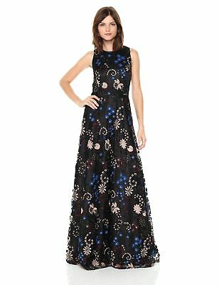 2aa23e9cd7718 Tahari by Arthur S. Levine Women's Sleeveless Embroidered Gown,  Black/Gold/Wi