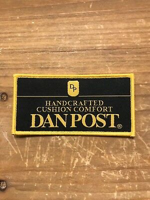 "RARE Dan Post cowboy boot rodeo sponsor embroidered patch 4""x2"""