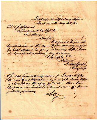 1861 DOWNING/ GOODE RIFLES Document ARMY OF MISSISSIPPI Troop Movement