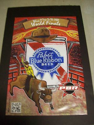 Pabst Blue Ribbon Beer Bull Riding World Finals Poster Sign NOS 2012
