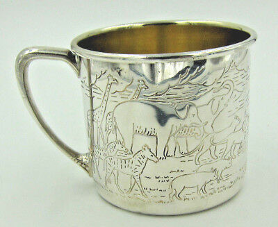 Vintage Ornate Oneida Noah's Ark Silverplate Baby Cup w/Gold Wash - No Mono