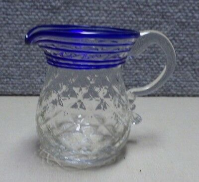 "Antique 3 1/2"" Hand Blown Glass Creamer Jug Threaded Blue & Diamond Pattern"