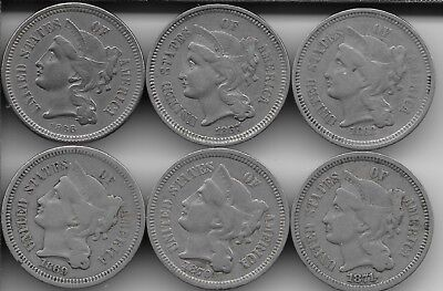 1866 to 1871 3CN - Three Cent Nickel US Mint Lot (6 Coins) - A Very Nice Set