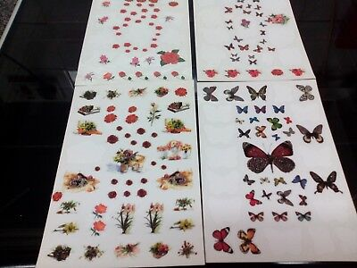 Job Lot Craft Clear Out 4 X Sheets Stickers Butterfly Flowers Card Making