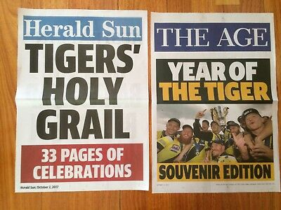 2017 Richmond FC Tigers Grand Final newstand posters  - Herald Sun & The Age