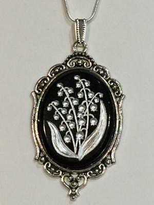 NEW ITEM*  LARGE, VERY RARE CZECH ANTIQUE CRYSTAL LILY OF THE VALLEY  NECKLACE.s