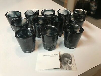 SET of 12 Kosta Boda ART GLASS MINE BLACK GLASSES Ulrica Hydman-Vallien MINT!!