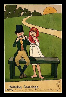 Dr Jim Stamps Us Birthday Greetings Topical Couple At Bench Postcard