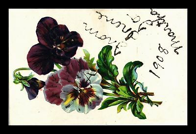 Dr Jim Stamps Us Glittered Embossed Flowers Topical Greetings Postcard