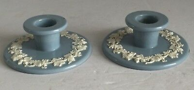PAIR Wedgwood Queensware Embossed Cream on Blue Candle Holders CANDLESTICKS