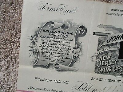 1898 GRAPHIC Submarine Cable MFG.,John Roebling family New Jersey letterhead!