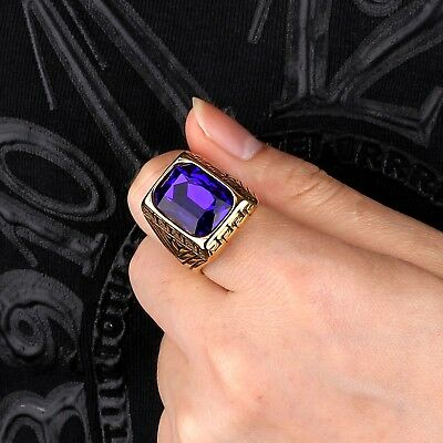 Fashion Mens Gold Stainless Steel Signet Blue Sapphire Celtic Band Rings Jewelry