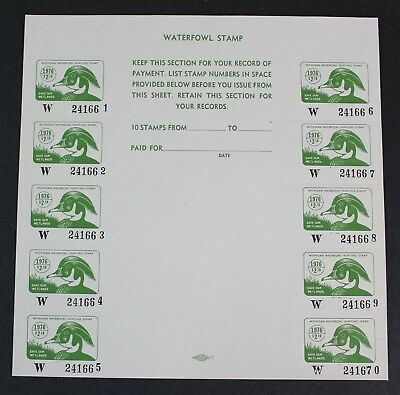 CKStamps: US State Duck Stamps Collection $2.10 Michigan 1976 Mint NH OG