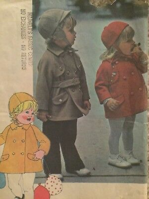 1975 McCall's 4806 Toddler Size 1 Coat Lined Double Breast Hat Cut All There