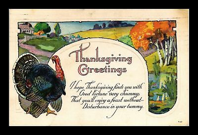 Dr Jim Stamps Us Thanksgiving Greetings Embossed Topical Postcard