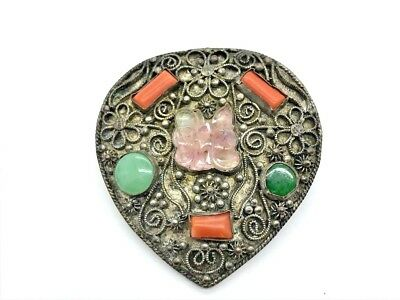 Antique Chinese Export Silverplate Pink & Green Jade Coral Pin Brooch 1.5""