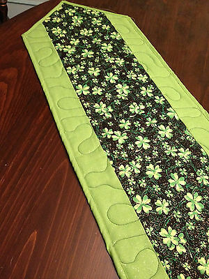 Handcrafted-Quilted Table Runner-St. Patrick's Day-Shamrocks - Green & Gold