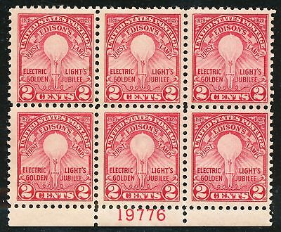 Dr Jim Stamps Us Scott 654 2C Edisons Lamp Plate Block Og Hinged Thin No Reserve