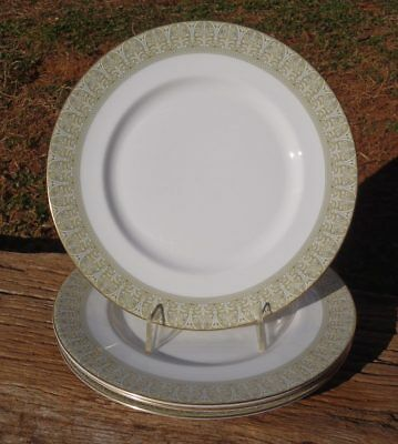 SET of 4 Royal Doulton SONNET Yellow Floral on Green 10 5/8 DINNER PLATES H5012