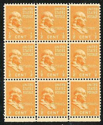Dr Jim Stamps Us Scott 803 1/2C Franklin Block Of 9 Unused Og Nh No Reserve
