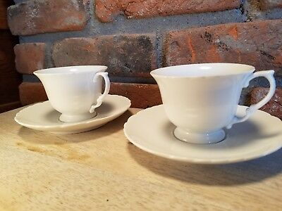 White Porcelain Tea Cups with Scalloped Edges