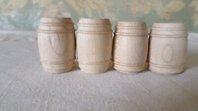 Turned Wood Unfinished Small Barrels (4)