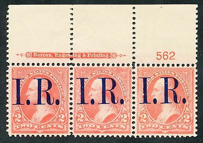 Dr Jim Stamps Us Scott R155 2C Washington I R Plate Strip Unused No Gum