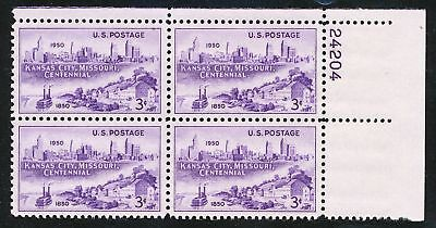 Dr Jim Stamps Us Scott 994 Kansas City Centenary Plate Block Og Nh Fingerprint