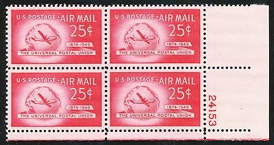 Dr Jim Stamps Us Scott C44 25C Postal Union Plate Block Og Nh No Reserve