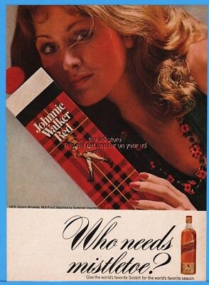 1973 Johnnie Walker Red Label Scotch Whisky Christmas Who Needs Mistletoe Ad