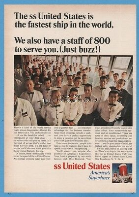 1966 SS United States Cruise Ship Lines staff of 800 to serve you crew photo ad