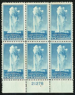 Dr Jim Stamps Us Scott 744 5C Yellowstone Plate Block Og Nh No Reserve