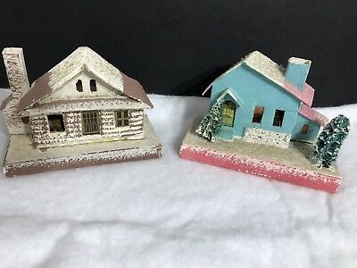 Two- Vtg Putz Cardboard Village Mica Houses Japan -Snowy Log Cabin