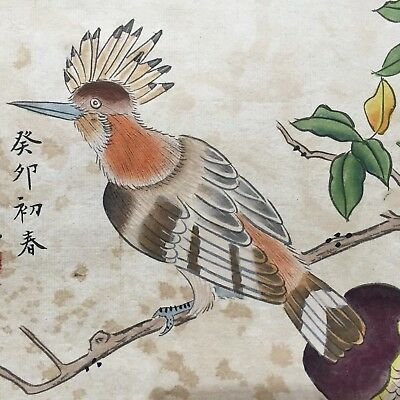 Rare Collectible Old Paper Handwork Paint & Bird Pomegranate Chinese Painting