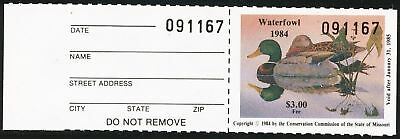 Dr Jim Stamps Us State Duck W/tab Missouri 1984 $3 Unused Og Nh No Reserve
