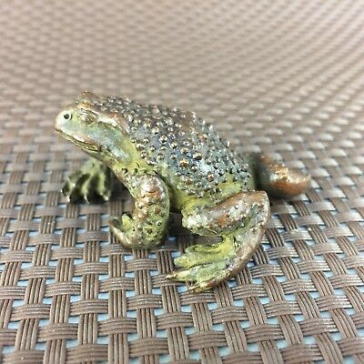 Rare Collectible Antique Old Copper Handwork wealthy Toad Chinese fortune Statue