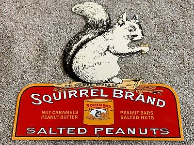 """Vintage """"squirrel Brand Salted Peanuts"""" 20"""" X 19"""" Candy, Nut, Gas Oil Metal Sign"""